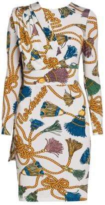 Moschino Tassel Print Cape Sheath Dress