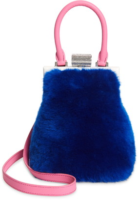 PERRIN Le Mini Genuine Shearling & Leather Top Handle Bag