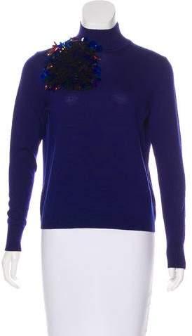 DELPOZO Embellished Merino Wool Turtleneck