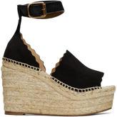 Chloé Black Suede Lauren Espadrille Wedge Sandals