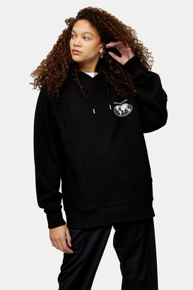 Topshop Womens Petite Love Nation Hoodie - Black
