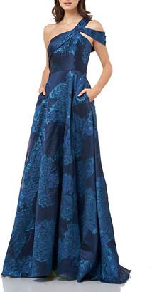 Carmen Marc Valvo One-Shoulder Jacquard A-Line Gown with Cold Shoulder Detail