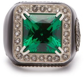 Gucci Crystal-embellished Signet Ring - Green