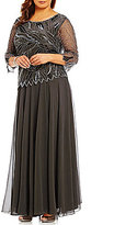 J Kara Plus Boat Neck 3/4 Sleeve Beaded 2-Piece Gown