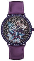GUESS Floral Design Leather Watch