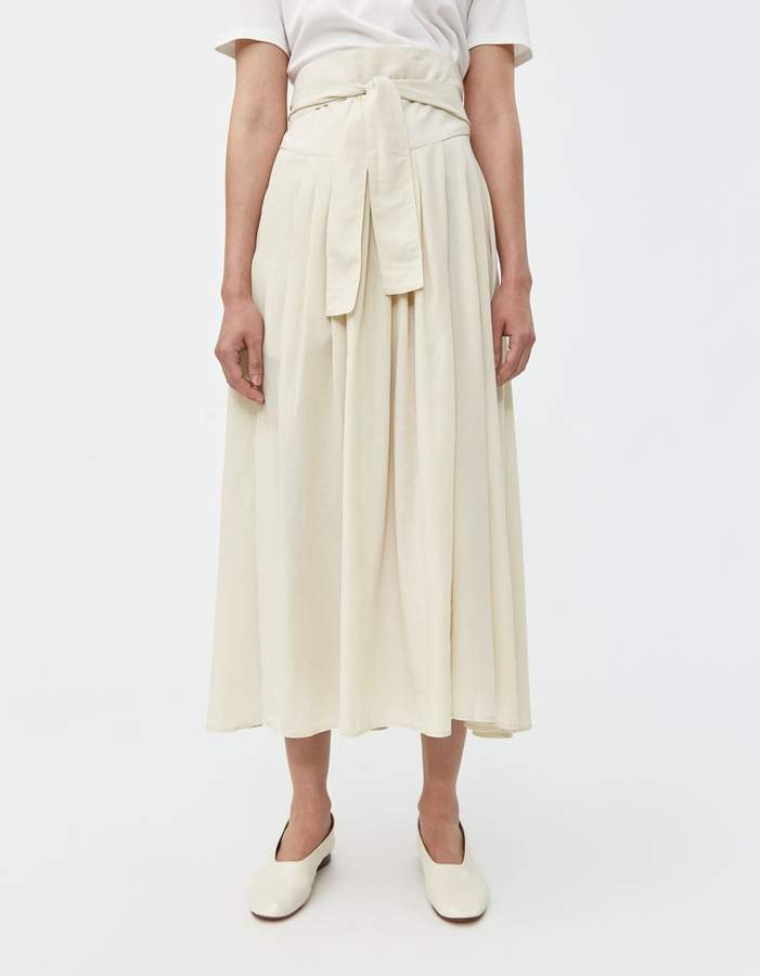 Black Crane Wrap Skirt in Cream