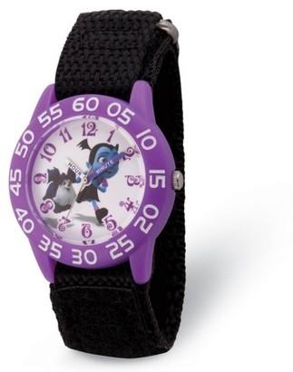 Disney Vampirina Girls' Clear Plastic Time Teacher Watch, Black Hook and Loop Nylon Strap