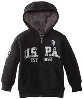 U.S. Polo Assn. Little Boys' Full Zip Hoodie with Sherpa Lining