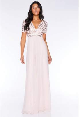 Quiz Nude Sequin Scallop Cap Sleeve Maxi Dress