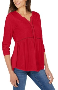 Style&Co. Style & Co V-Neck Mixed Woven Top, Created for Macy's
