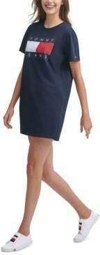 Tommy Jeans Logo-Print Cotton T-Shirt Dress