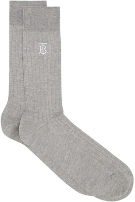 Burberry Embroidered Monogram Ribbed Socks