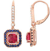 Fine Jewelry Lab-Created Ruby & Sapphire Diamond Accent 14K Gold Over Silver Leverback Earrings