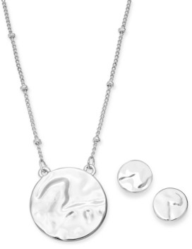 Alfani Silver-Tone 2-Pc. Set Hammered Circle Pendant Necklace & Matching Stud Earrings, Created for Macy's
