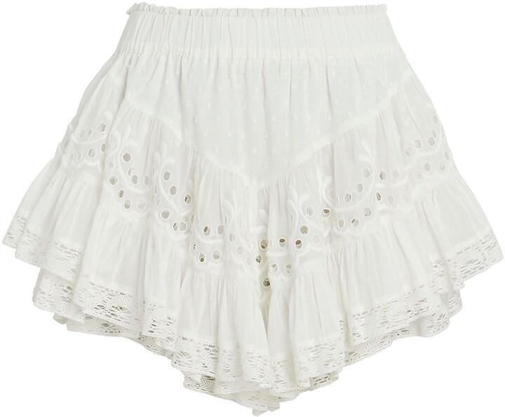 LoveShackFancy Briella Ruffled Eyelet Mini Skirt
