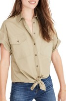 Madewell Women's Embroidered Tie Front Safari Shirt