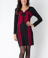 Yuka Paris Black & Carmine Abstract Carla Dress
