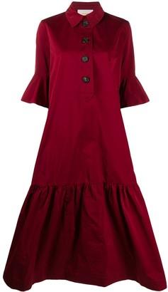 La DoubleJ Ruffled Polo Neck Shirt Dress