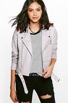 boohoo Eve Boutique Belted Faux Leather Biker Jacket grey
