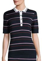 St. John Sport Collection Striped Dot Polo Shirt