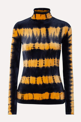 Proenza Schouler Tie-dyed Stretch-velvet Turtleneck Top - Black