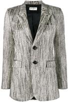 Saint Laurent buttoned tweed blazer - women - Silk/Cotton/Acrylic/Metallized Polyester - 40