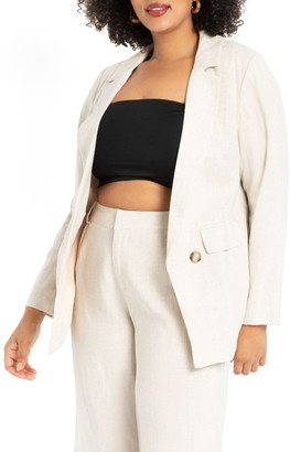 ELOQUII Long Linen & Cotton Blazer