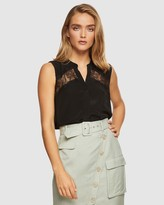 Oxford Sofia Lace Insert Sleeveless Shirt
