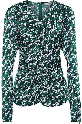By Malene Birger Ruched Leopard-print Satin-twill Top