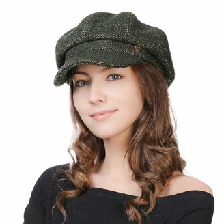 Jeff & Aimy Womens Wool Blend Herringbone Tweed Newsboy Cap Visor Beret Winter Fashion Baker Boy Cap for Ladies Painter Newsy Cabbie Hat Cotton Lined M Olive Green