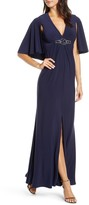 Eliza J Embellished Gown with Cape