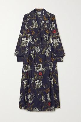 Dries Van Noten Floral-print Cotton-jacquard Shirt Dress - Navy