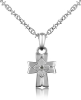 Forzieri Diamond and Stainless Steel Cross Pendant Necklace