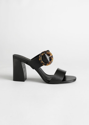 And other stories Tortoise Buckle Leather Heeled Sandals