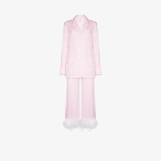 Sleeper Party gingham feather trim pyjamas