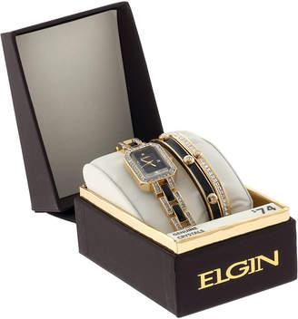 Elgin Womens Black Gold-Tone Watch and Bracelet Set