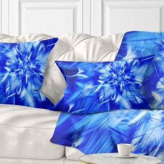 East Urban Home Floral Rotating Fractal Fireworks Lumbar Pillow Color: Blue