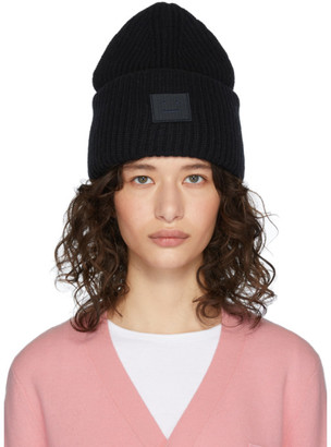 Acne Studios Black Rib Knit Patch Beanie
