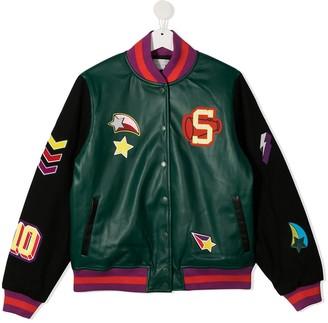 Stella McCartney Kids TEEN motif-print faux-leather bomber jacket