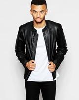 Jack & Jones Faux Leather Jacket - Black