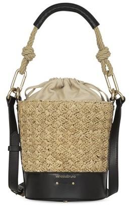 Vanessa Bruno Mini raffia and leather Holly bag
