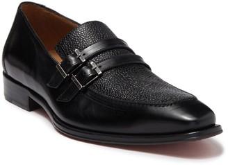 Mezlan Embossed Vamp & Buckle Leather Loafer