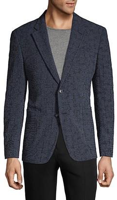 Armani Collezioni G-Line Textured Stretch Virgin Wool Silk Sportcoat