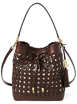 Lauren Ralph Lauren Portwood Collection Debby Tasseled Whip-Stitched Woven Drawstring Bag