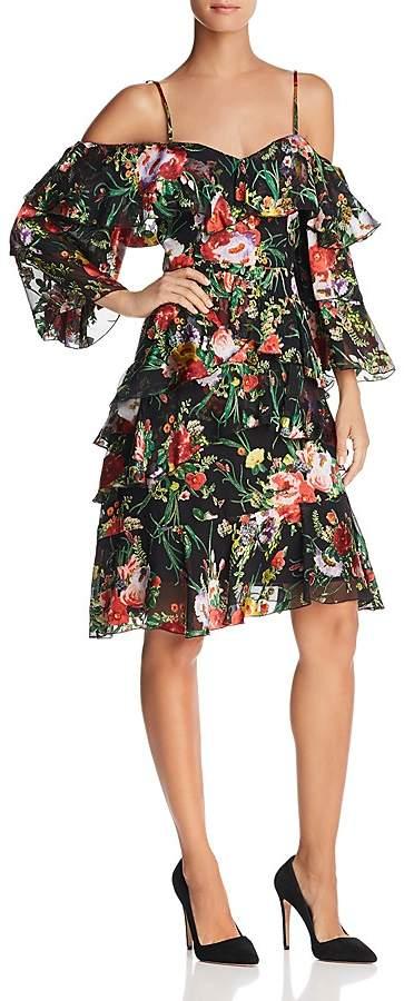 Alice + Olivia Florentina Ruffled Cold-Shoulder Dress
