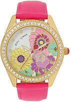 Betsey Johnson Floral Analog Leather-Strap Watch