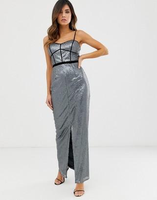 Little Mistress sleeveless sequin maxi dress-Grey