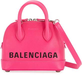 Balenciaga Ville XS Leather Top Handle Logo Satchel Bag