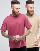 Asos 2 Pack Oversized T-shirt In Beige/red Save