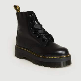 Dr. Martens Black Leather Molly Platform Ankle Boots - 39 | leather | black - Black/Black